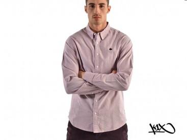 Košile K1X Leaf Chambray burgundy/white