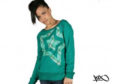 Mikina K1X Shorty Star Check zelená